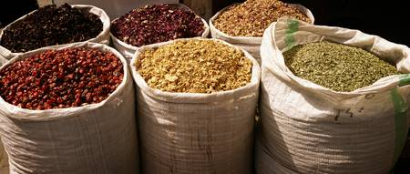 Bags of Dried goods in the Dubai Spice Souk UAE sh