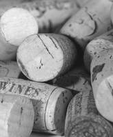 Close up wine corks left hand side saying wines
