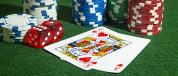 Panoramic shot Poker Cards, chips dice table