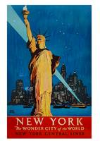 Vintage Statue of Liberty New York City Skyline