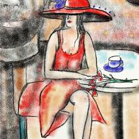 Woman in cafe Art Prints & Posters by Catalina Lira