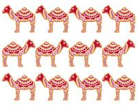 Camel Red Repeat White Back