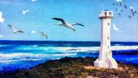 White Lighthouse with Gulls