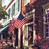 Fredericksburg VA - Street With American Flags Art Prints & Posters by Susan Savad