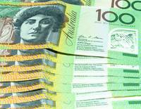 Group $100 Australian notes shallow depth of field