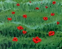 Abstract Painting Of Red Poppy Field