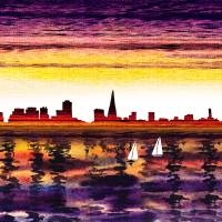 San Francisco Sunset City Skyline Art Prints & Posters by Irina Sztukowski