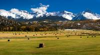 Hayfield and The San Juan Mountains (Panorama)