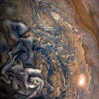 Swirling Clouds of Planet Jupiter Close Up from Ju