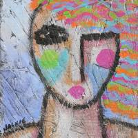 Funky Abstract Portrait on Wood Art Prints & Posters by Jackie Ludtke