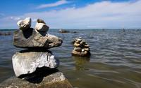 Rock Cairns in Traverse Bay, Michigan