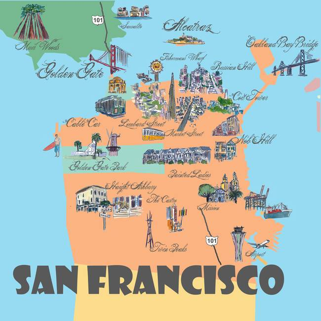 Contemporary San Francisco Map Artwork For Sale On Fine Art Prints