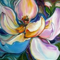 SWEET MAGANOLIA MODERN FLORAL ABSTRACT by Marcia Baldwin