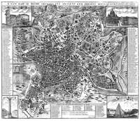 Vintage Map of Rome Italy (1721) BW