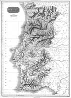 Vintage Map of Portugal (1818) BW
