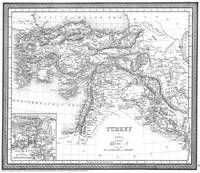 Vintage Map of Turkey (1850) BW