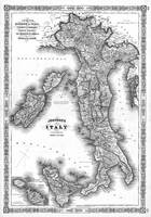 Vintage Map of Italy (1864) BW