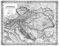 Vintage Map of Austria (1856) BW