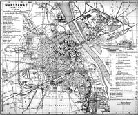 Vintage Map of Warsaw Poland (1914) BW