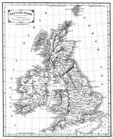 Vintage Map of The British Isles (1864) BW