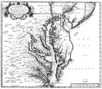 Vintage Map of The Chesapeake Bay (1719) BW