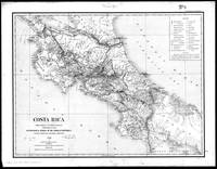 Vintage Map of Costa Rica (1903) BW
