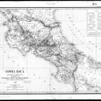 """Vintage Map of Costa Rica (1903) BW"" by Alleycatshirts"
