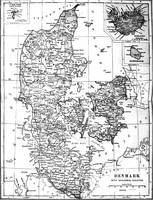 Vintage Map of Denmark (1905) BW