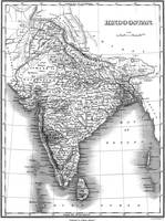 Vintage Map of India (1831) BW
