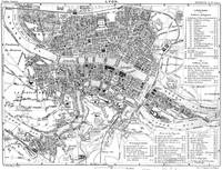 Vintage Map of Lyon France (1888) BW