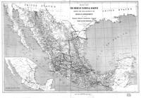 Vintage Mexico Railroad Map (1881) BW