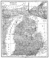 Vintage Map of Michigan (1909) BW