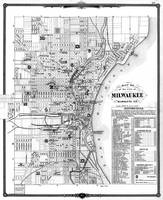Vintage Map of Milwaukee Wisconsin (1878) BW
