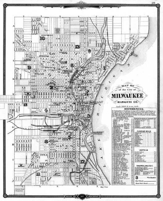 Stunning Milwaukee Map Artwork For Sale On Fine Art Prints - Vintage milwaukee map