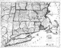 Vintage Map of New England States (1843) BW