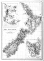 Vintage Map of New Zealand (1854) BW