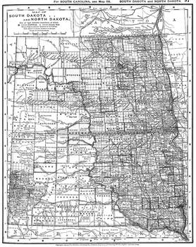 Vintage Map of North and South Dakota (1891) BW by Alleycatshirts ...