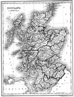 Vintage Map of Scotland (1832) BW
