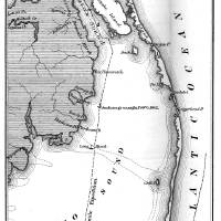 """""""Vintage Map of The Outer Banks (1862) BW"""" by Alleycatshirts"""