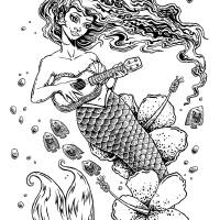 Ukulele Mermaid Art Prints & Posters by Bryan Collins