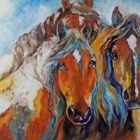 FOUR WILD MUSTANGS Art Prints & Posters by Marcia Baldwin