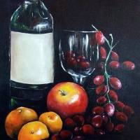 WineandFruit Art Prints & Posters by Lindsey Hall
