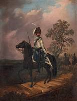 CARL STEPHAN BENNET, ROYAL HUSSAR ON HORSE.