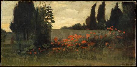 Cypress and Poppies , Elihu Vedder