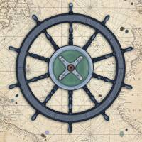 Out at Sea - Old Ship Wheel Art Prints & Posters by Cheryl Marie