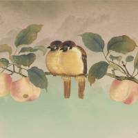 Golden Birds In Fruit Tree by I.M. Spadecaller