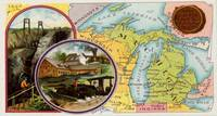 Vintage Michigan Map with Illustrations (1890)