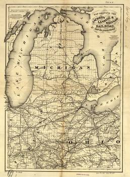 Vintage Michigan Ohio and Indiana Railroad Map by Alleycatshirts
