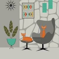 """Orange Cats in Gray Stone Wall"" by DMibus"