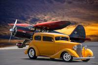 1933 Pontiac 8 Sedan and Stinson Reliant Aircraft